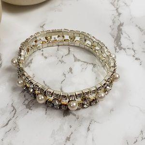 New Studded Crystal Pearl Bracelet